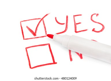 "The red marker with the choice between ""yes"" and ""no"" on a white background"