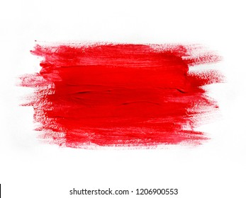 Red marker paint texture isolated on white background.