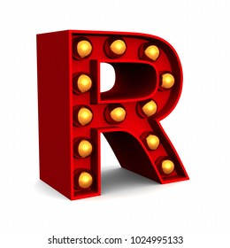Red Marquee light letter R sign retro on white background. 3d rendering