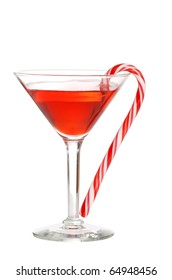 red martini with a candy cane