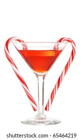 red martini with candy canes