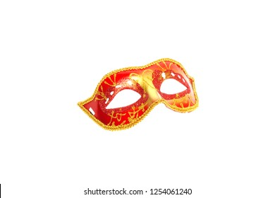Red mask isolated on white background