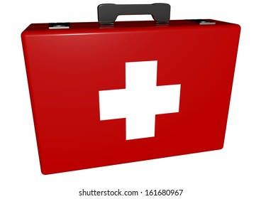 a red medical case with white cross