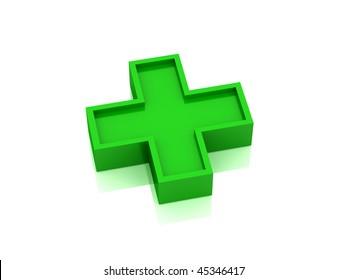 Red medical cross isolated on white background. High quality 3d render.