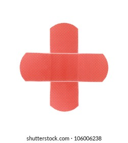 Red medical patch isolated on white background