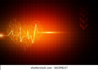 Red medical or science with heart beat or sound wave background