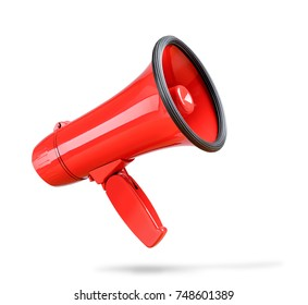 Red megaphone isolated on white background. File contains a path to isolation.