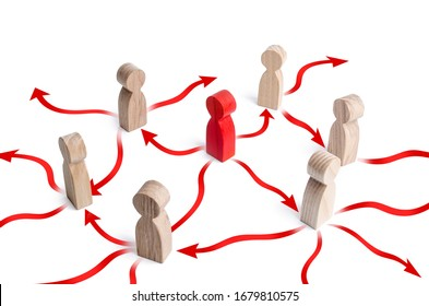 Red men is spreads the disease infection to other people by the red arrows. Coronavirus COVID-19 spreading. Exponential growth great danger, pandemic threat. Scheme of population infection.