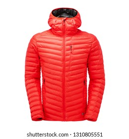 Red Men's and Women's Ski Jacket Isolated on White. Unisex Winter Coat with Adjustable Hood and Water Resistant. Unisex Warm Hoodie Outwear Cotton Windproof Eco Fabric. Hooded Clothing Wear