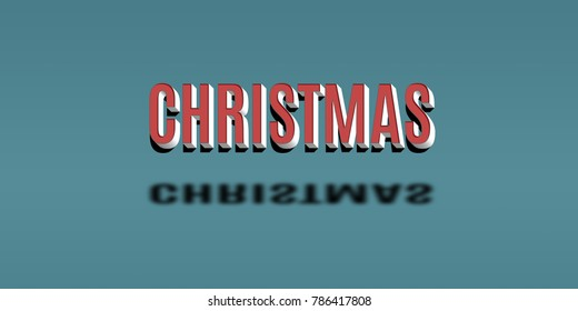 Red Merry Christmas 3D Text on blue background