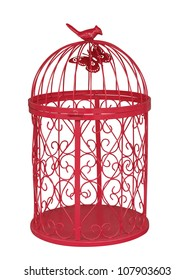Red Metal Birdcage isolated with clipping path