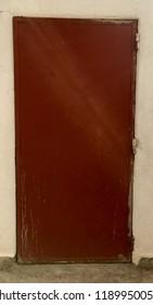 Red metal door
