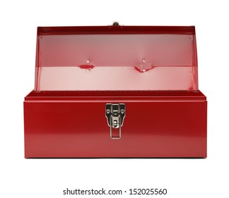 Red Metal Tool Box Isolated On White Background.