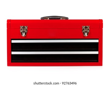 red metal toolbox on a white background
