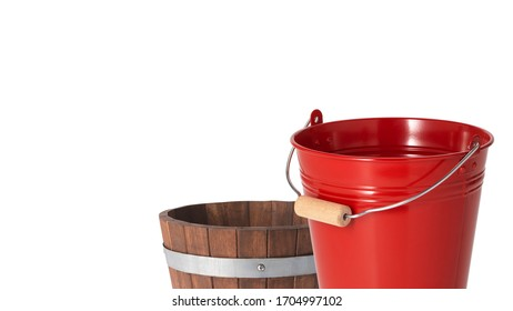 Red metallic bucket and wooden bucket on white background