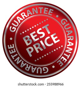 Red Metallic Circle Best Price Guarantee Icon, Label, Banner, Tag or Sticker Isolated on White Background