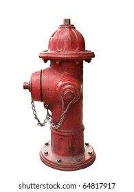 A red metallic fire hydrant isolated over white background, clipping path is included.