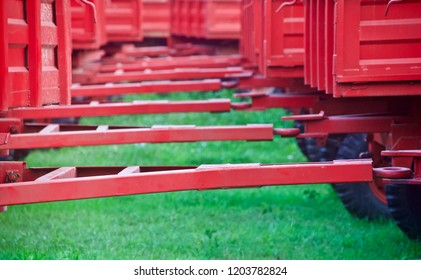 Red metallic hooks of the tractor trailers unique photo