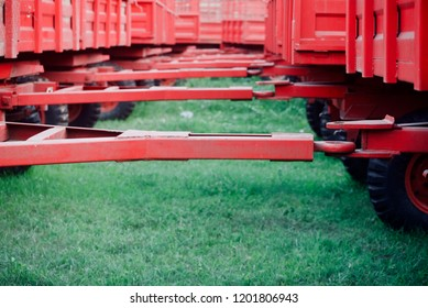 Red metallic parts of tractor trailers isolated unique photo
