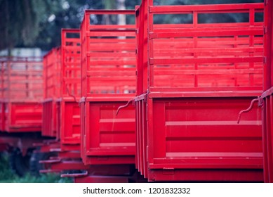 Red metallic parts of tractor trailers isolated object unique photo