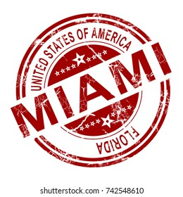 Red Miami stamp with white background, 3D rendering