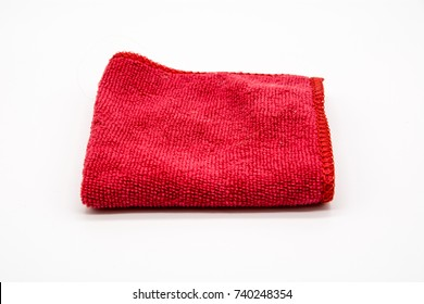 an red microfiber cleaning towel, over white background