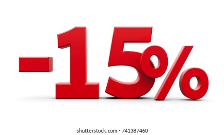 Red minus fifteen percent sign isolated on white background, three-dimensional rendering, 3D illustration