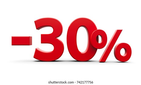 Red minus thirty percent sign isolated on white background, three-dimensional rendering, 3D illustration