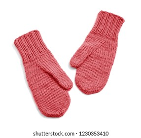 Red mittens isolated on white background