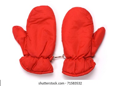 Red mittens isolated on a white background.