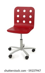 red modern armchair with circle holes on back, metal base and black wheels, isolated on white
