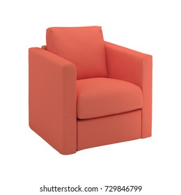 red modern armchair isolated