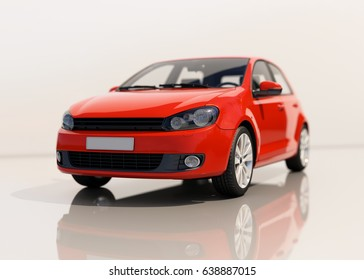 Red Modern Compact Car Close-up, Shallow Depth of Field, Selective Focus, Automobile in Studio, Automobile Industry, Economy Car,  Auto Transport, Automotive Background, City Vehicle