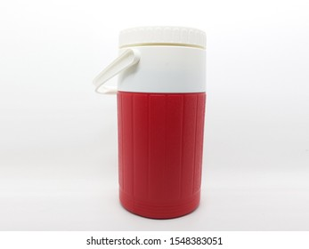 Red Modern Elegant Hot or Cold Drinking Beverages with White Handler Plastic Container for Kitchen Utensils in White Isolated background