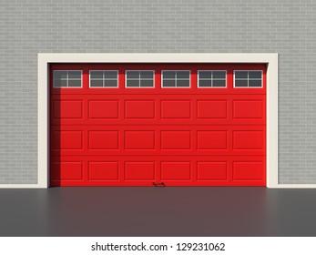 Red modern garage door with five white windows