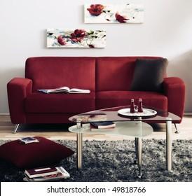 red modern living room