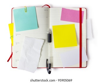 red Moleskin notebook  or calendar or organizer with precise clipping path