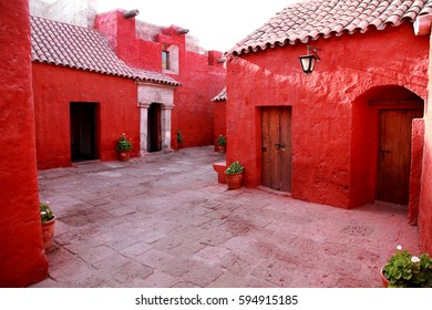 Red monastery in Peru