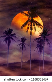 Red moon or blood moon with many stars and clouds. Beautiful night landscape of colorful sky with super moon behind coconut palm. Serenity nature background. The moon taken with my camera.