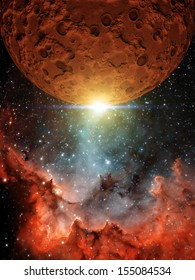 """Red Moon - """"Elements of this image furnished by NASA"""""""