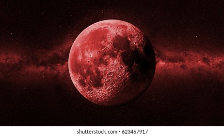 red Moon in front of the Milky Way galaxy (3d illustration, background banner, elements of this image are furnished by NASA)