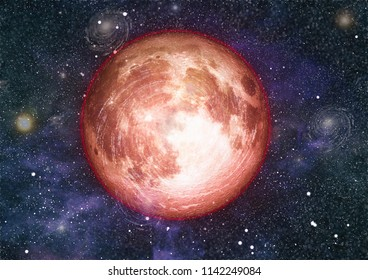 red moon in space  - Elements of this Image Furnished by NASA