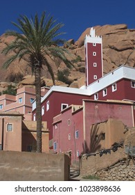Red Mosque in Aday Tafraout among Red Stones and PalmTree - Morocco