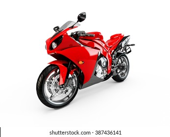 Red motorcycle isolated on a white background