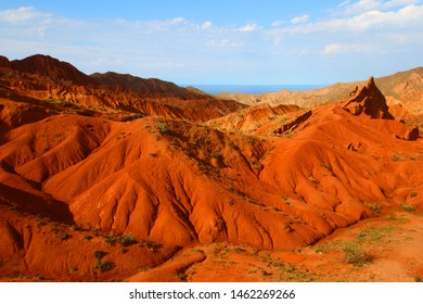 Red mountain canyon in Kyrgyzstan on lake Issyk-Kul