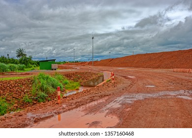Red mud - toxic residue of aluminum production polluting the soil on huge area. Guinea, Africa.