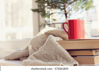 red mug with books and a blanket on the background of the balcony window / holiday in a homely atmosphere