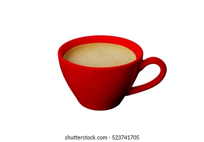 Red mug coffee  isolated on white background