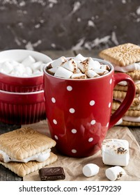 Red mug with hot chocolate. Smore and marshmallow
