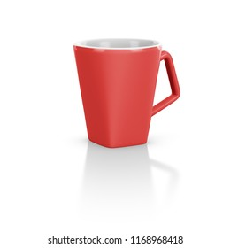 Red mug mock-up in white background - front view